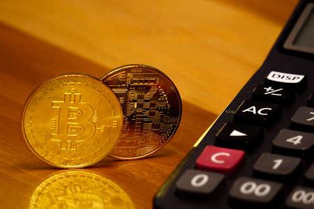 Bitcoin symbol coin close up view Archivio Fotografico