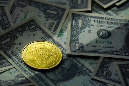 Bitcoin and us dollar close up view Archivio Fotografico