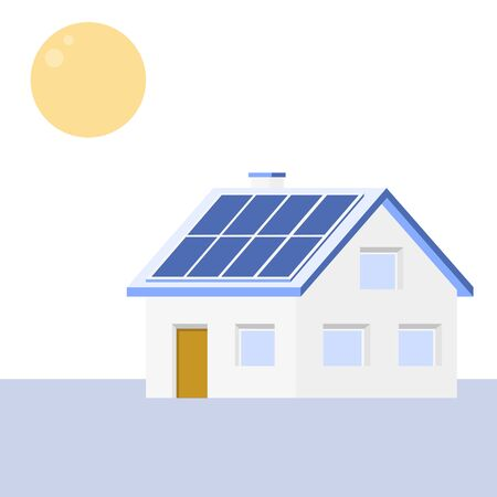 Simple house with a sun and solar panels on the roof. Blue, white and yellow minimalistic illustration. 向量圖像