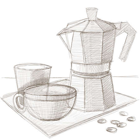 Old style vintage coffee pot with cup and milk. Sketch style hand drawn vector illustration.