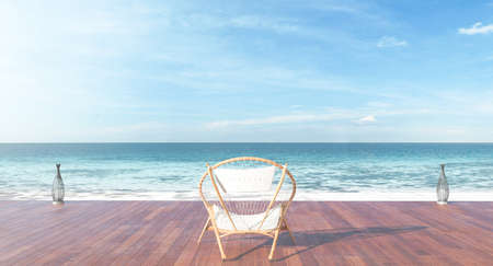 Beach lounge terrace with the chair and light   3d render image Stock Photo