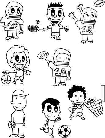 Cartoon Kids Playing Sports Vector