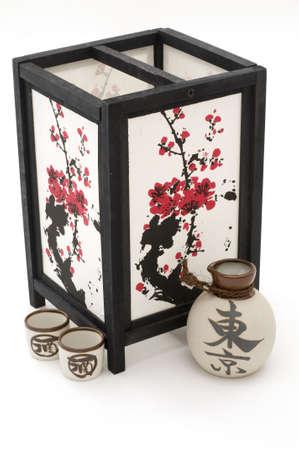 saki: Lantern and Saki Stock Photo