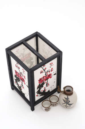 Top View of Lantern and Saki Cups Stock Photo