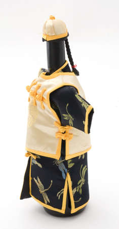 Side View of Wine Bottle Dressed Up