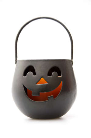 candle holder: Jack-O-Lantern Black Candle Holder Stock Photo