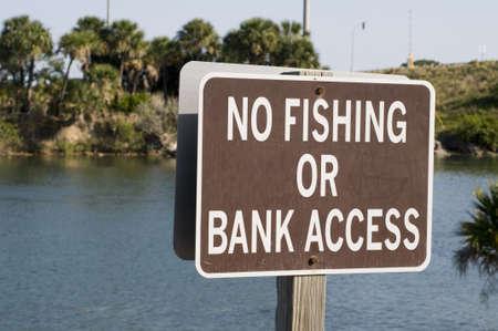 No Fishing or Bank Access Sign Stock Photo