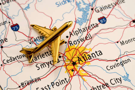 Plane Over Atlanta, Map is Royalty Free Off a Government Website
