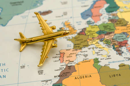 Plane Traveling to Europe - Map is Royalty Free Off a Government Website