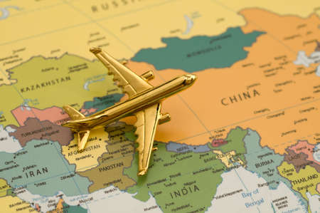 Plane Traveling to China - Map is Royalty Free Off a Government Website Stock Photo