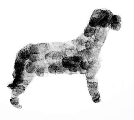 Dog Made Up of Fingerprints