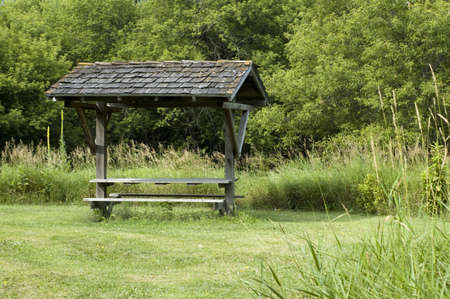 iowa: Bench at Iowa Park Stock Photo