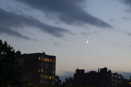 crescent: Boston Buildings with Crescent Moon