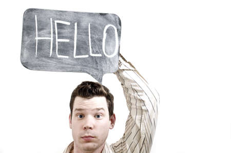 Male Holing Hello Stock Photo - 7475051