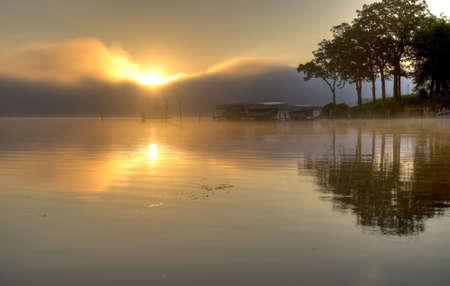 HDR of Sunrise in Lake Okoboji Stock Photo