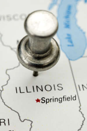 Thumbtack Over Map of Illinois