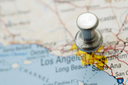 Thumbtack Over Map of Cali photo