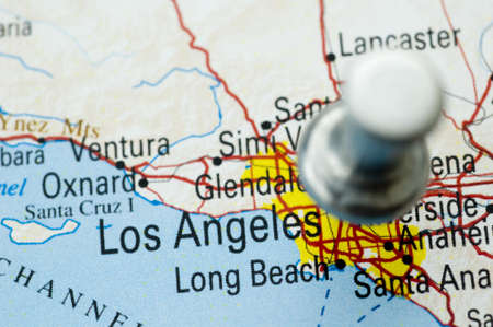 Thumbtack Over Map of Los Angeles Stok Fotoğraf