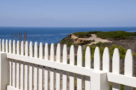 White Fence with View of Pacific Ocean Stock Photo - 8116370