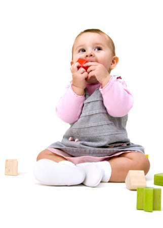 Cute Baby Playing with Blocks
