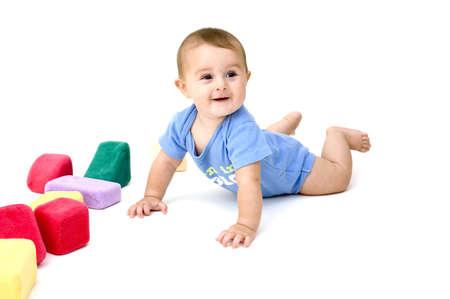 Baby Crawling, Isolated Reklamní fotografie