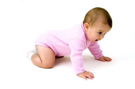 Cute Baby. Caption = Losse, verkennen  Stockfoto