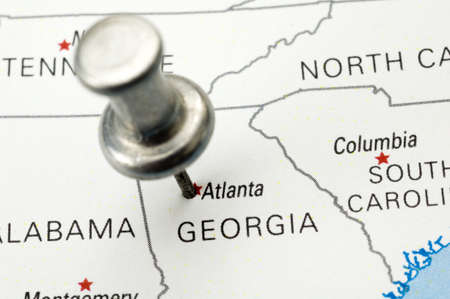 Push Pin in Atlanta, Georgia - Map is Copyright Free Off a Government Website Stok Fotoğraf