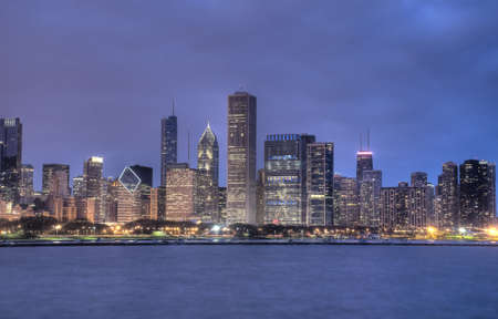 HDR of Chicago Skyline at Night Stock Photo