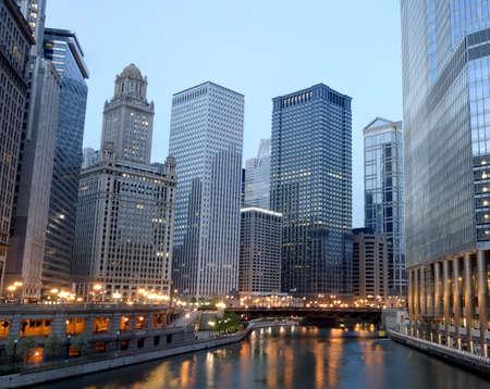 HDR van Chicago in de Ochtend Stockfoto