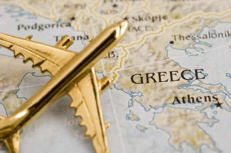 greece map: Plane Over Greece