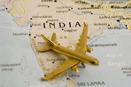 Vliegtuig over India, Kaart is vrij van rechten uit een Goverment Website - Nationalatlas.gov Stockfoto
