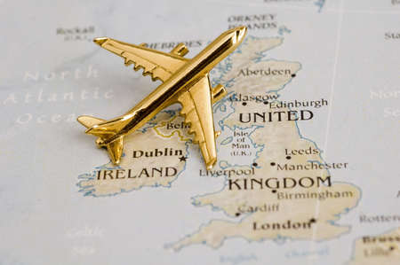 Plane Over UK  - Map is Copyright Free Off a Government Website - nationalatlas.gov