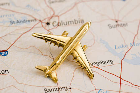 Plane Over South Carolina - Map is Copyright Free Off a Government Website - nationalatlas.gov Stock Photo