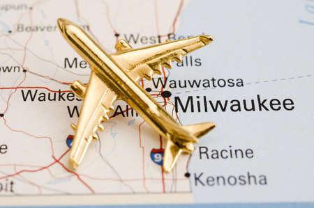 Plane Over Milwaukee  - Map is Copyright Free Off a Government Website - nationalatlas.gov