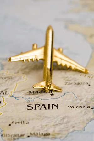 sevilla: Vliegtuig over Spanje, Kaart is vrij van rechten uit een regering Website