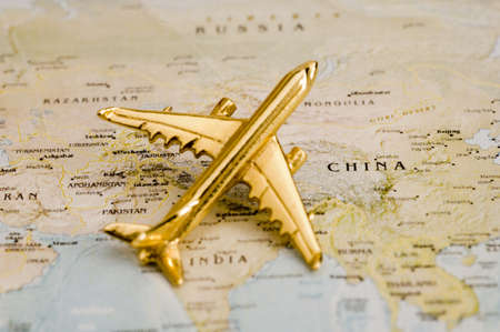 Vliegtuig in heel Azië - Kaart is vrij van rechten uit een door de overheid Website - Nationalatlas.gov
