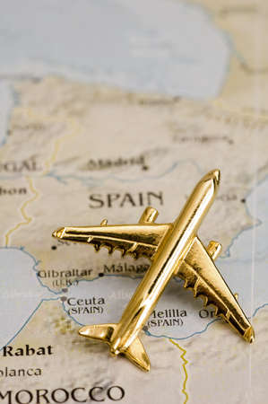 Plane Over Spain  - Map is Copyright Free Off a Goverment Website - Nationalatlas.gov Stock Photo