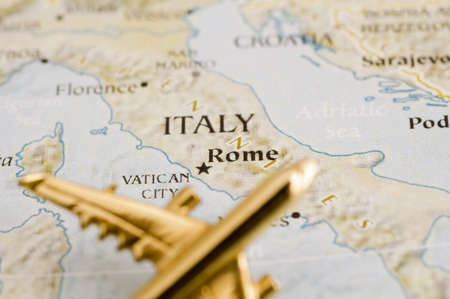 Plane Over Italy - Map is Copyright Free Off a Goverment Website - Nationalatlas.gov Stock Photo