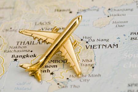 Plane Over Vietnman - Map is Copyright Free Off a Goverment Website - Nationalatlas.gov