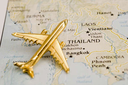 Plane Over Thailand - Map is Copyright Free Off a Goverment Website - Nationalatlas.gov Stock Photo