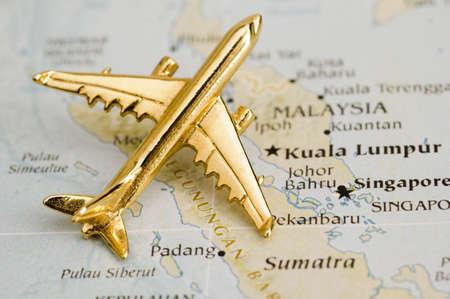 Vliegtuig over Maleisië - Kaart is vrij van copyright Uit een Goverment Website - Nationalatlas.gov