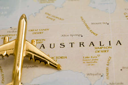 up country: Plane Over Australia - Map is Copyright Free Off a Goverment Website - Nationalatlas.gov Stock Photo