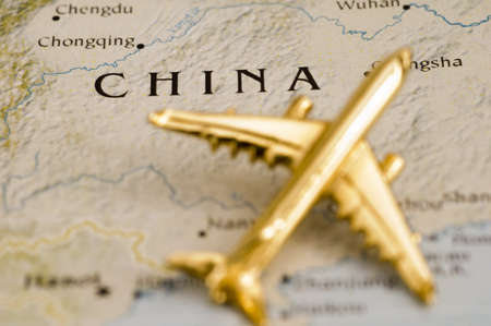 map of china with airplane