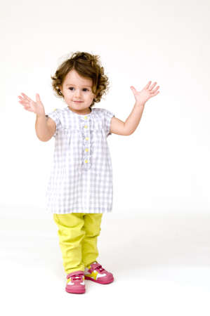 Baby Girl Clapping Stock Photo