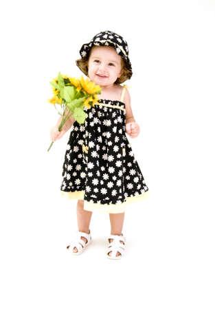 Portret van Baby Girl met Sun Flowers
