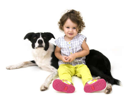 Baby Girl and her Dog photo