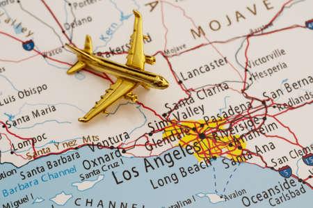 Plane gaan naar Los Angeles, Kaart is Auteursrecht Gratis Uit een regering Website - nationalatlas.gov Redactioneel