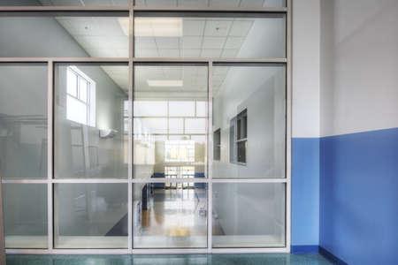 second floor: glass window