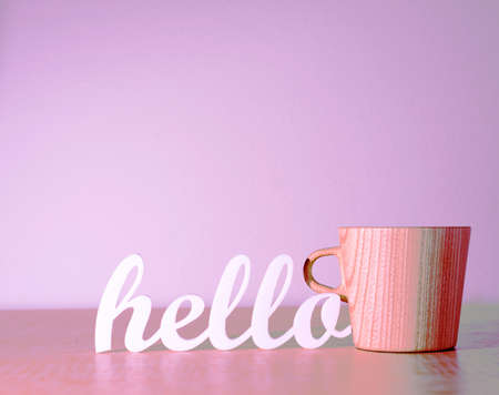 Hello with Wooden Mug
