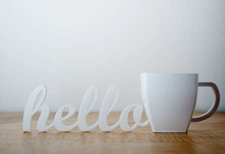 Hello with Plastic Mug Banco de Imagens